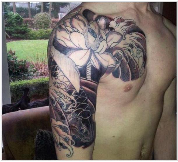 Half Sleeve And Chest Piece Koi Lotus Flowers Tattoocom