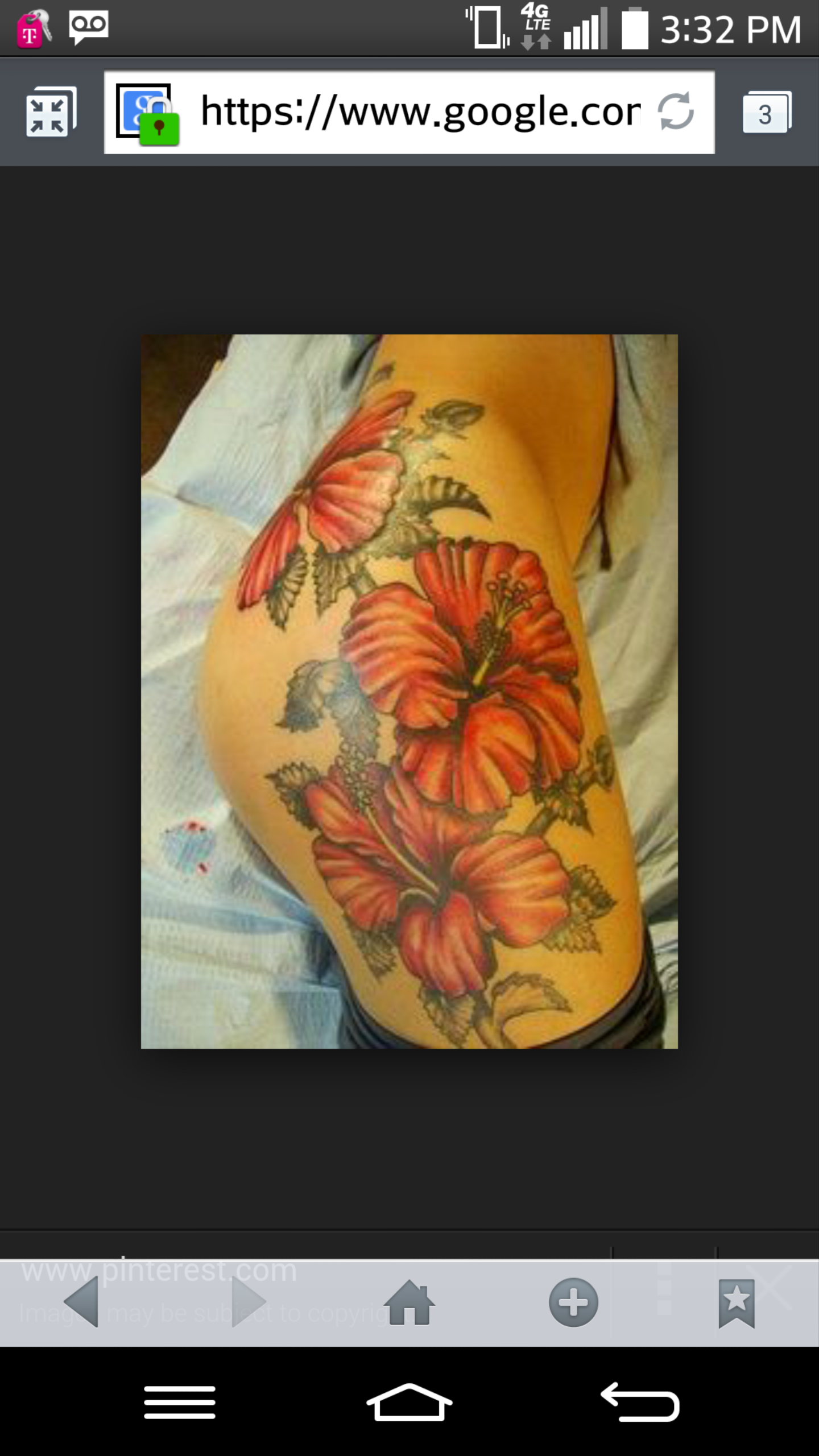 Large Several Pink Hibiscus Flowers Starting From Tattoo
