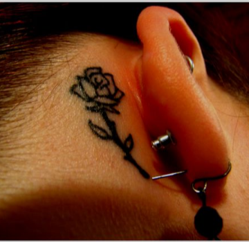 Small Rose Tattoo Behind The Ear Without Color Tattoocom