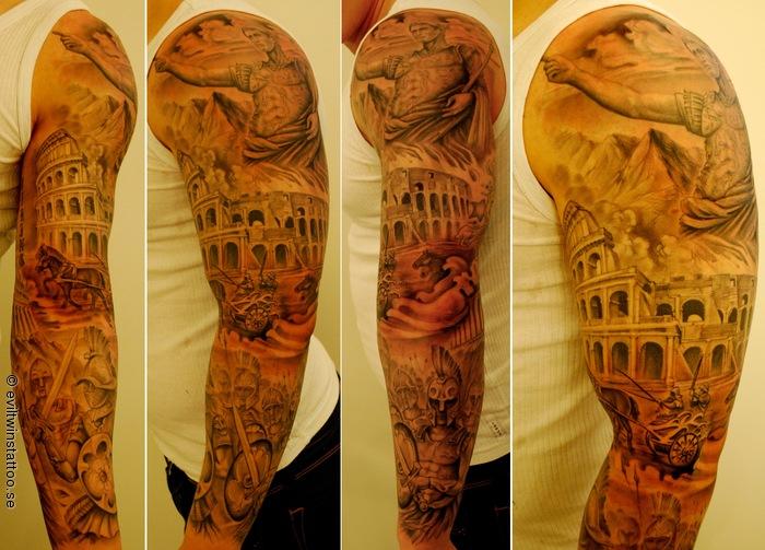 37ae2eda9 Roman Gladiator, with the Colliseum - Tattoo.com
