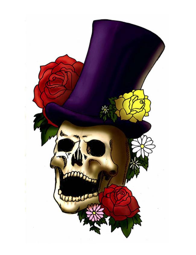 Laughing Skull With Top Hat Tattoo Design Tattoocom